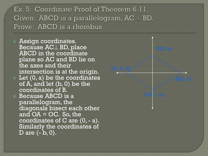 Ex. 5:  Coordinate Proof of Theorem 6.11