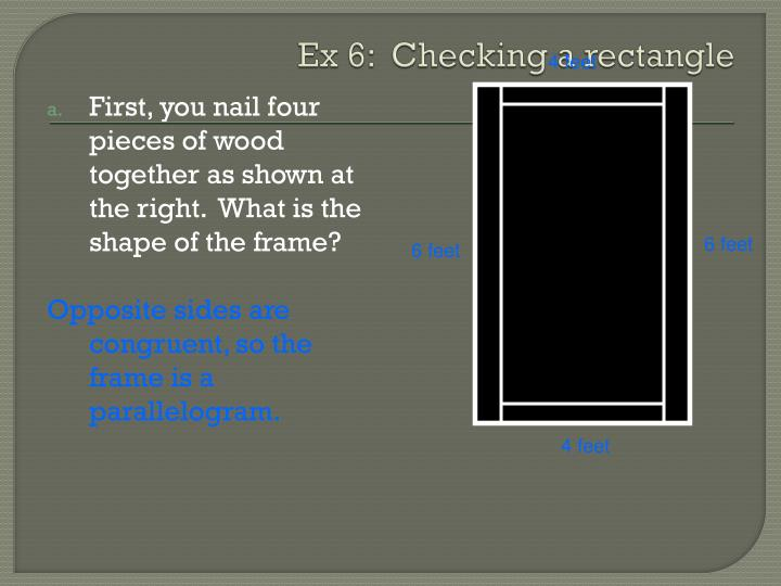 Ex 6:  Checking a rectangle