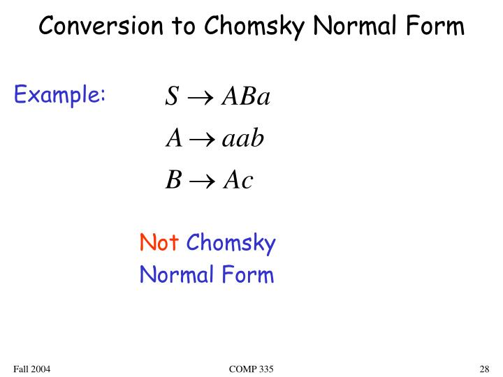 Conversion to Chomsky Normal Form