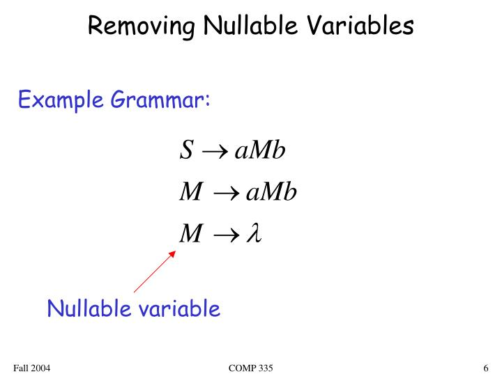 Removing Nullable Variables