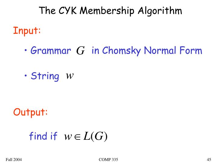 The CYK Membership Algorithm