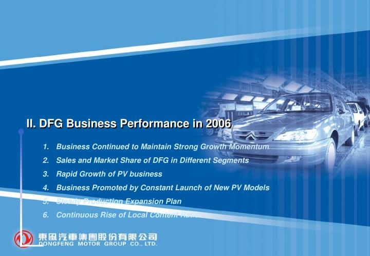 II. DFG Business Performance in 2006