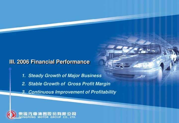 III. 2006 Financial Performance