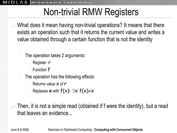 Non-trivial RMW Registers