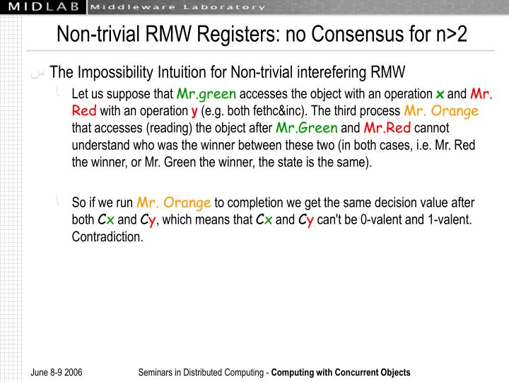 Non-trivial RMW Registers: no Consensus for n>2