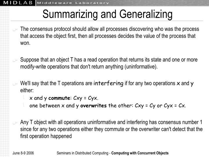 Summarizing and Generalizing
