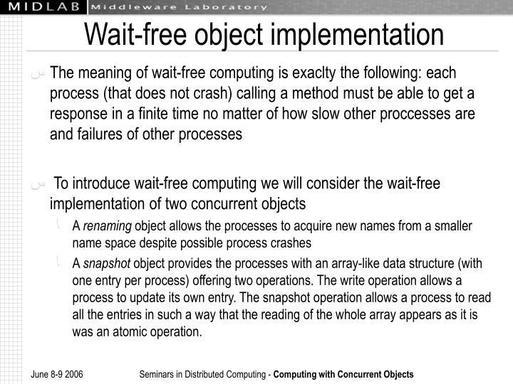 Wait-free object implementation