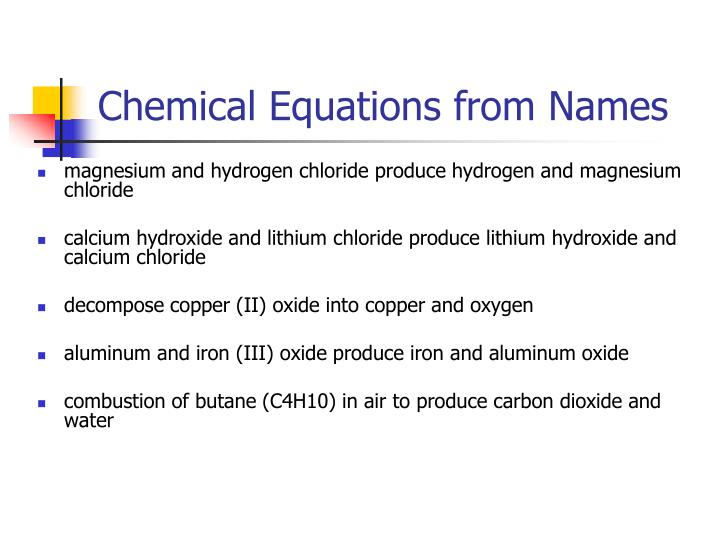 Chemical Equations from Names