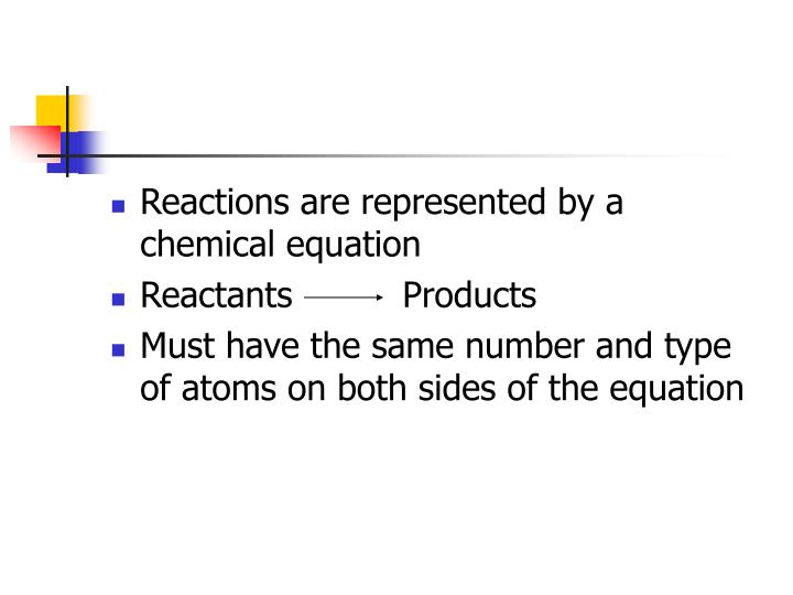 Reactions are represented by a chemical equation