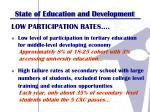 state of education and development