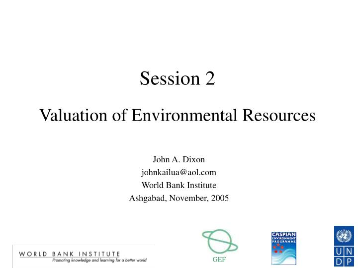 session 2 valuation of environmental resources n.