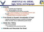 aristotle vs g del logic forms and language