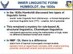inner linguistic form humboldt the 1830s