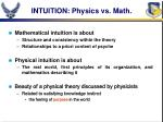 intuition physics vs math
