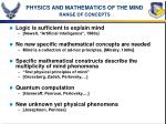 physics and mathematics of the mind range of concepts