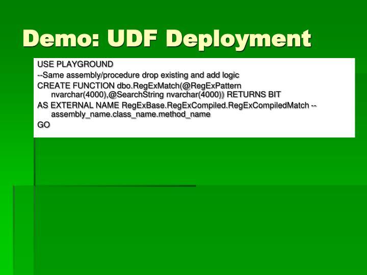 Demo: UDF Deployment