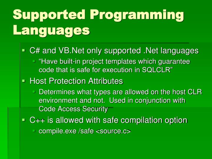 Supported Programming Languages