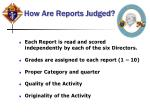 how are reports judged