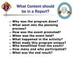 what content should be in a report