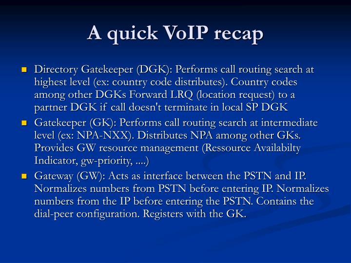 A quick voip recap