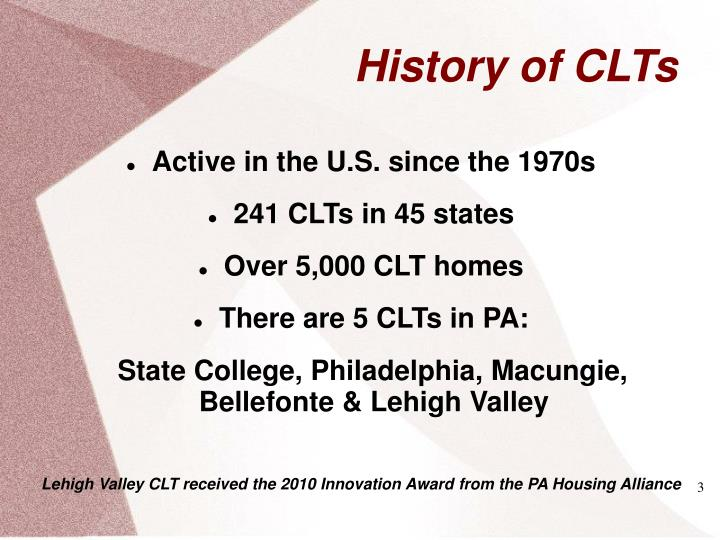 History of clts