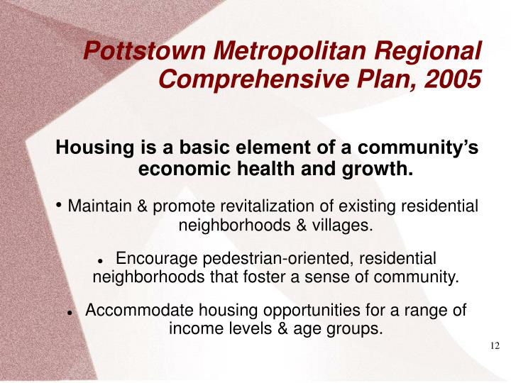 Housing is a basic element of a community's economic health and growth.