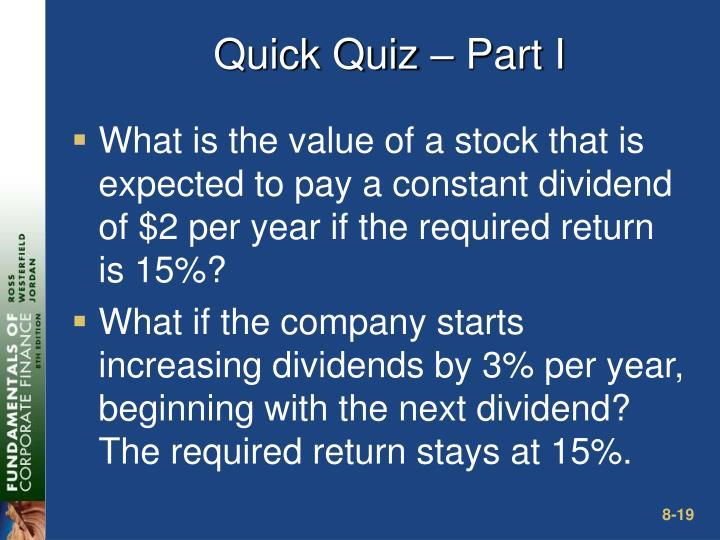 Quick Quiz – Part I