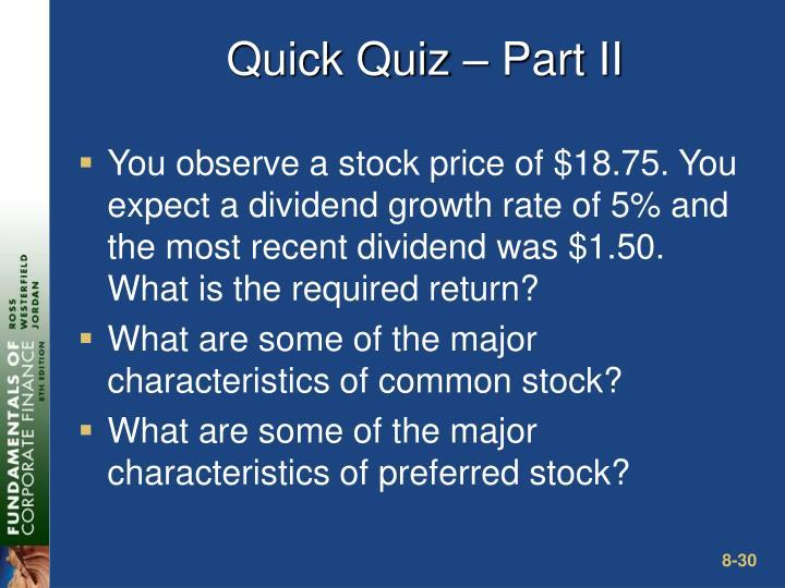 Quick Quiz – Part II