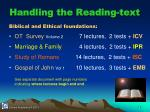 handling the reading text