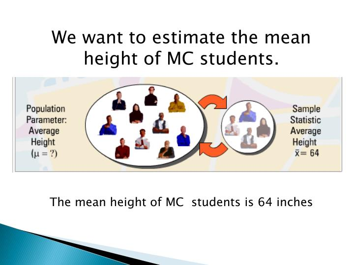 We want to estimate the mean height of MC students.