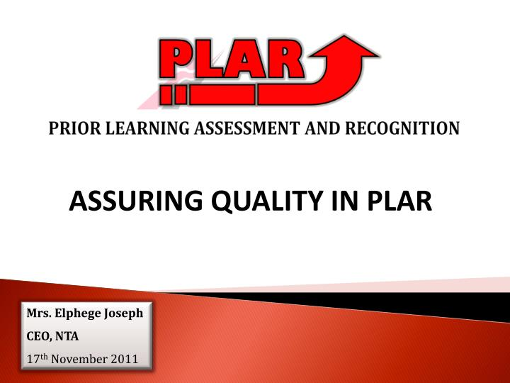 Prior learning assessment and recognition