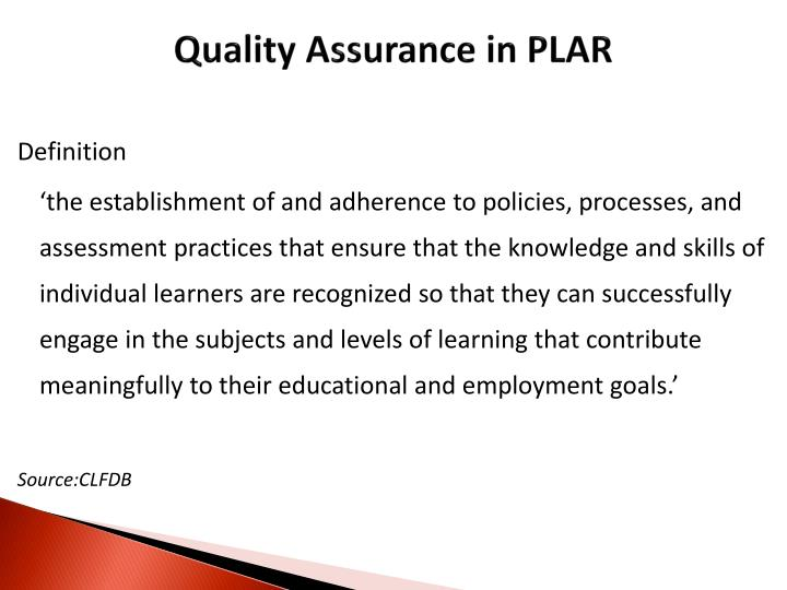 Quality Assurance in PLAR