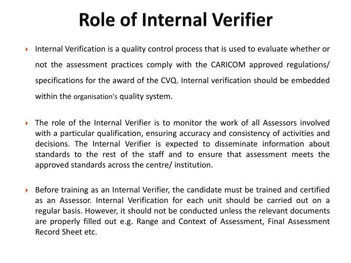 Role of Internal Verifier