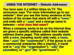 using the internet website addresses