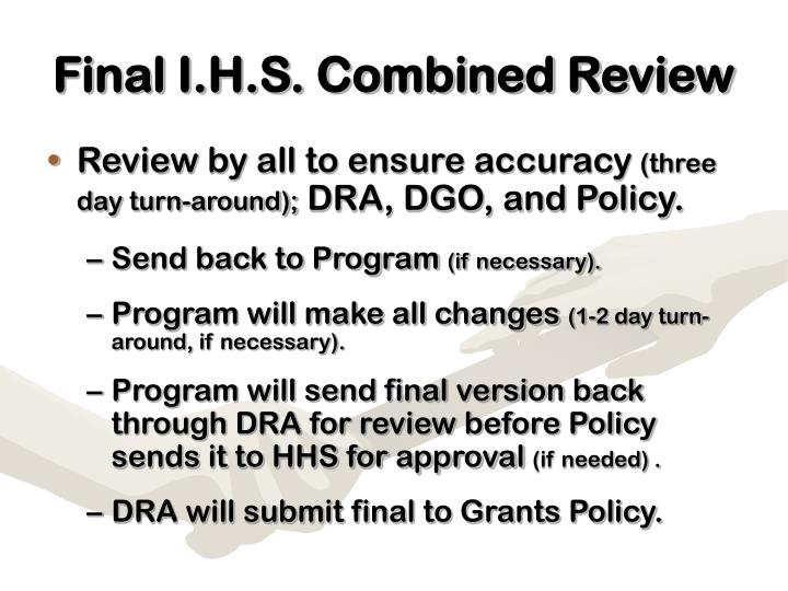 Final I.H.S. Combined Review