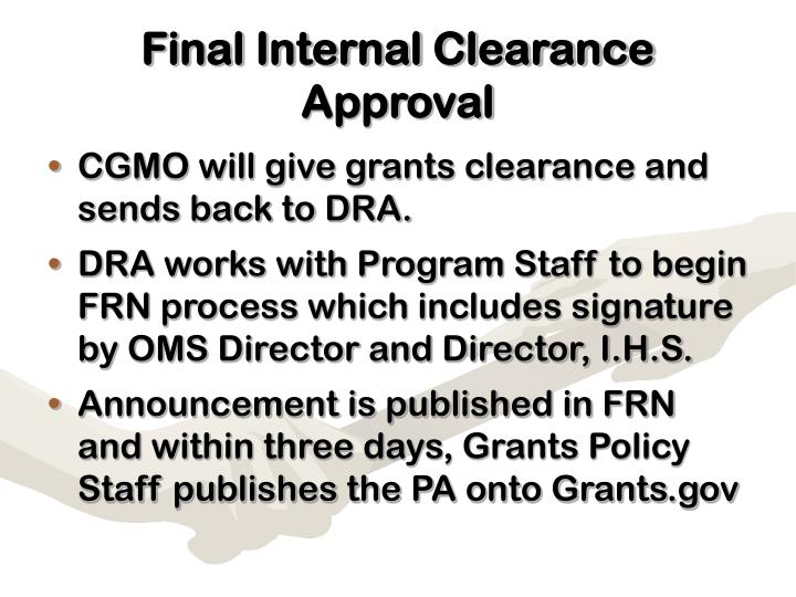 Final Internal Clearance Approval