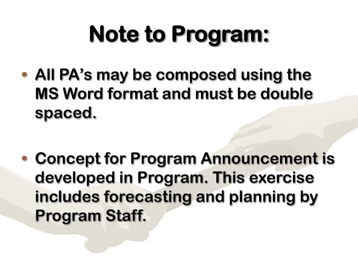 Note to program