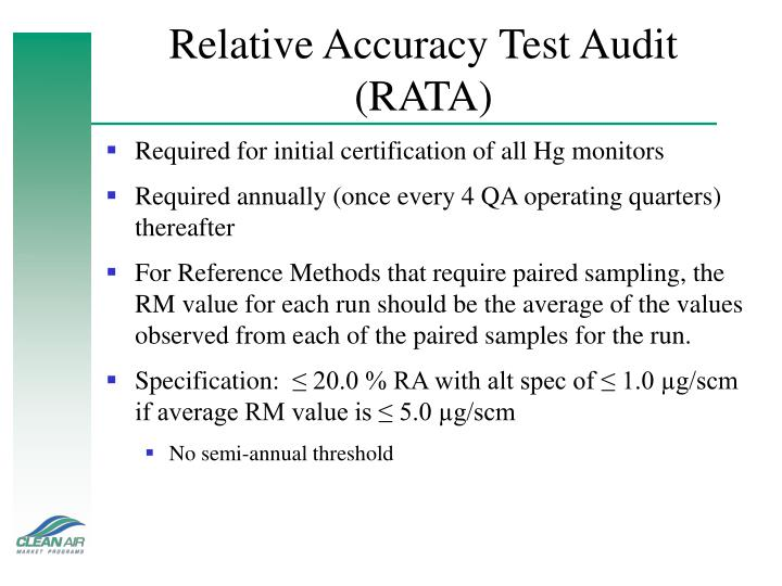 Relative Accuracy Test Audit (RATA)