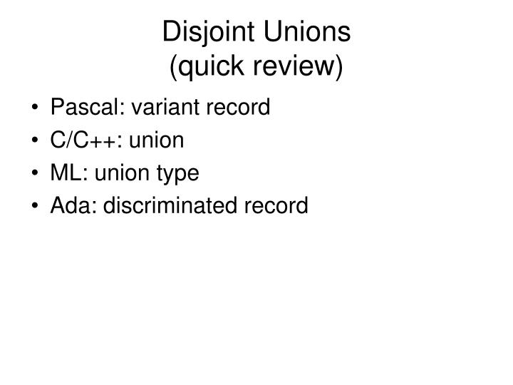 disjoint unions quick review n.