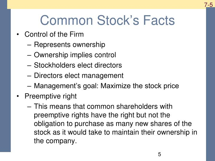 Common Stock's Facts