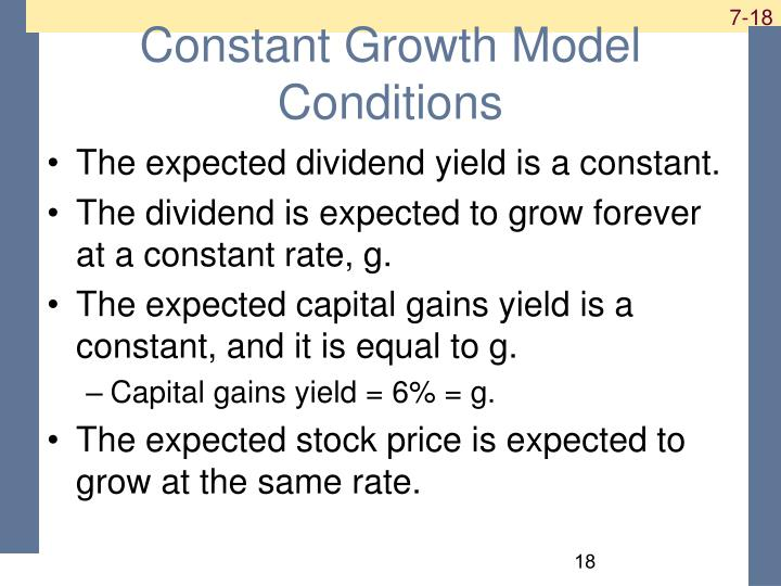 Constant Growth Model Conditions