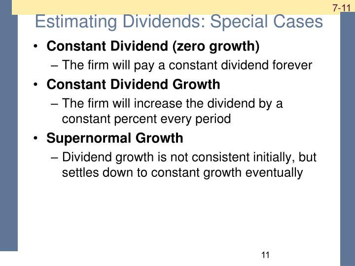 Estimating Dividends: Special Cases