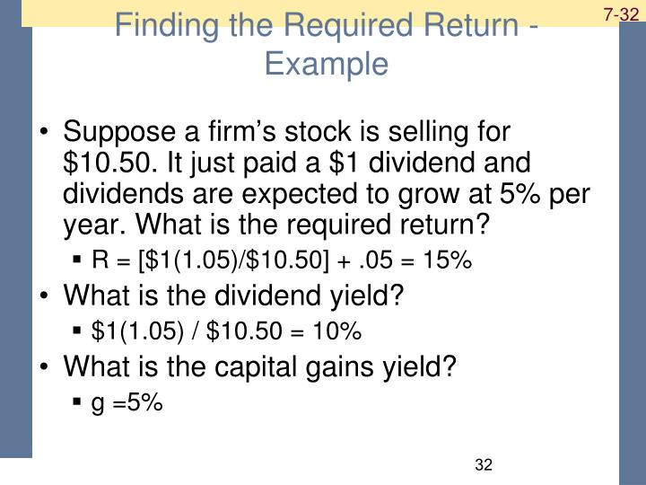 Finding the Required Return - Example