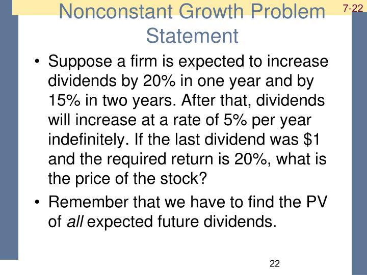 Nonconstant Growth Problem Statement