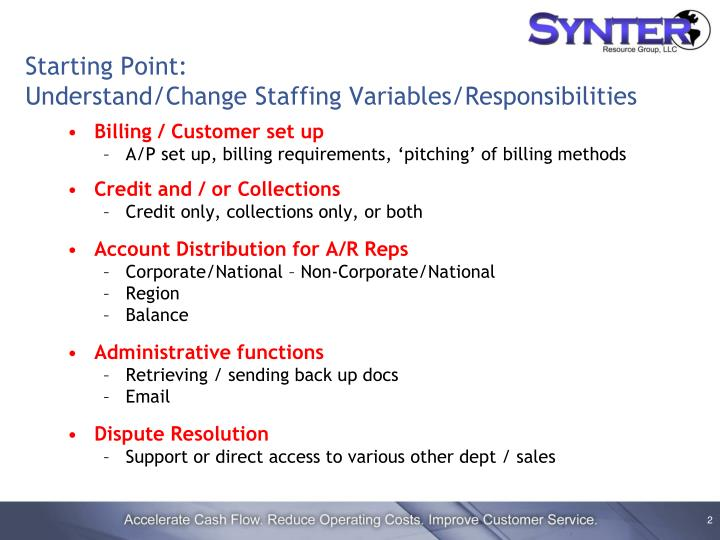 Starting point understand change staffing variables responsibilities