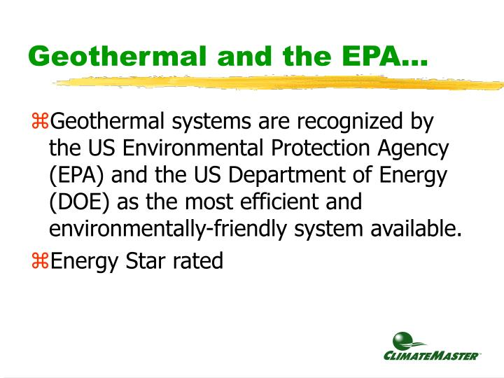 Geothermal and the EPA...