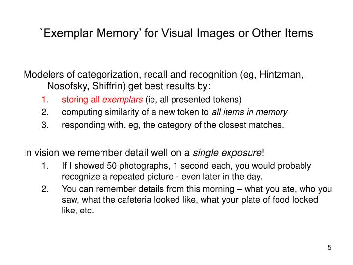 `Exemplar Memory' for Visual Images or Other Items