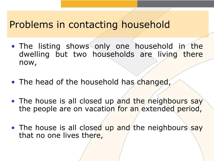 Problems in contacting household