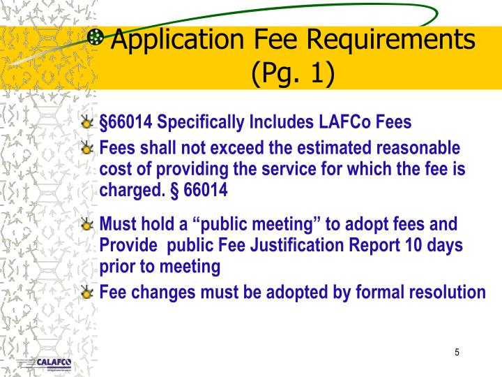 Application Fee Requirements (Pg. 1)