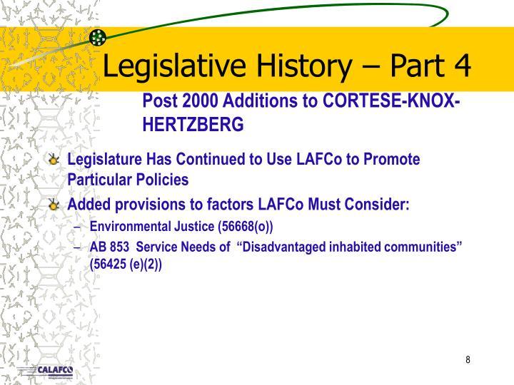 Legislative History – Part